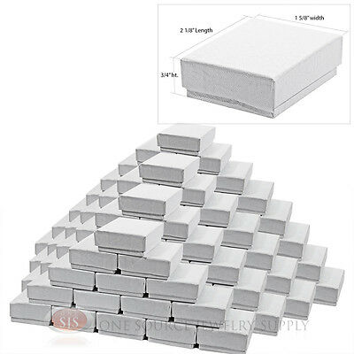 """100 White Swirl Cotton Filled Jewelry Gift Boxes  2 1/8"""" X 1 5/8"""" X 3/4"""" Charms"""