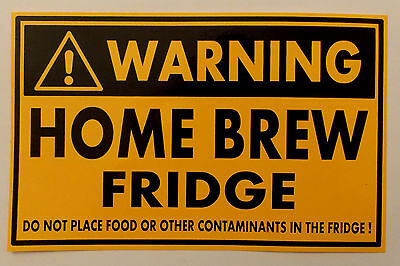 Homebrew Fridge beer PVC sticker Do not place food or..