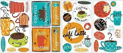 New CAFE PEEL & STICK WALL DECALS Coffee Cup Stickers Kitchen Decorations Decor
