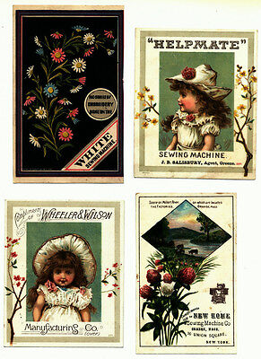 Victorian Trade Cards, Group of 4, Advertising Sewing Machines
