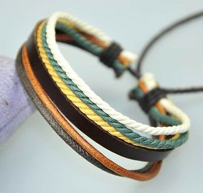 Cool Surfer R&B Genuine Leather Hemp Braided Bracelet Wristband Multi Color