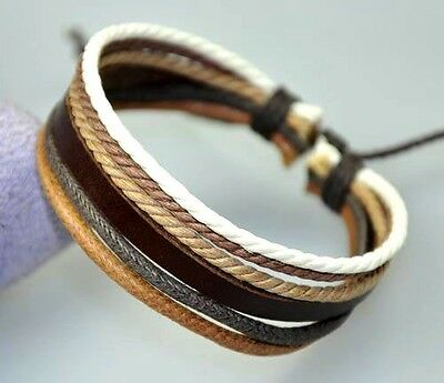 Cool Surfer R&B Genuine Leather Hemp Braided Bracelet Wristband Brown & White