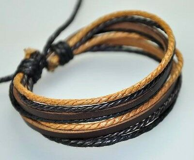 Cool Surfer R&B Genuine Leather Hemp Multi Band Bracelet Wristband Brown