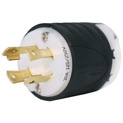 L14-30 Plug for 7500W+ Generators, Rated for 30A, 125/250V, 4-Prong