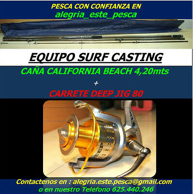 PESCA EQUIPO SURF CASTING (CALIFORNIA BEACH 4.20mts + DEEP JIG 80)