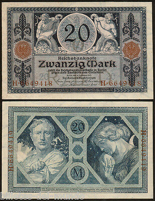 B-D-M Alemania Germany 20 mark 1915 Pick 63 SC- aUNC