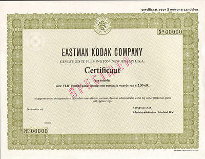 Eastman Kodak Company   Netherlands specimen camera film stock certificate share