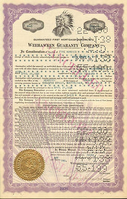Weehawken Guaranty Company > 1932 bond certificate New Jersey stock share
