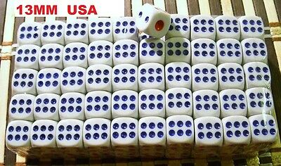 X50 13mm BIG DICE CASINO GAME BAR WHITE 6-SIDE D6 WHOLESALE