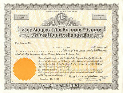 Cooperative Grange League Federation Exchange   New York GLF stock certificate