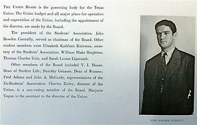 """1939 UNIVERSITY of TEXAS YEARBOOK """"the Cactus""""  (THICK!!)~ Gov JOHN CONNALLY ~"""