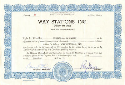 Way Stations   Pennsylvania stock certificate share serial # 2
