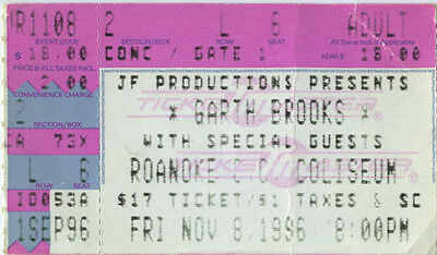 GARTH BROOKS 1996 Vintage Concert Ticket Roanoke