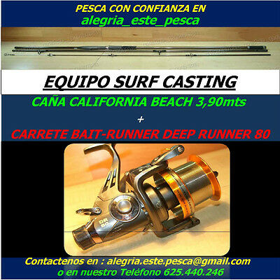 PESCA EQUIPO SURF CASTING (CALIFORNIA BEACH 3.90mt + BAIT-RUNNER DEEP RUNNER 80)