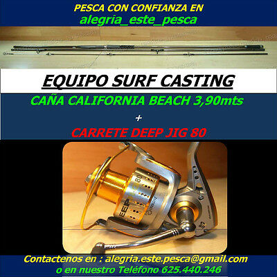PESCA EQUIPO SURF CASTING (CALIFORNIA BEACH 3.90mts + DEEP JIG 80)