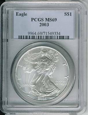 2003 American Silver Eagle Dollar PCGS MS 69 Sold AS IS
