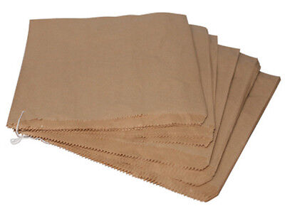 """100x Strung Brown Paper Bags Size 10x10"""" 250x250mm Food Bakery Takeaway Fruit"""