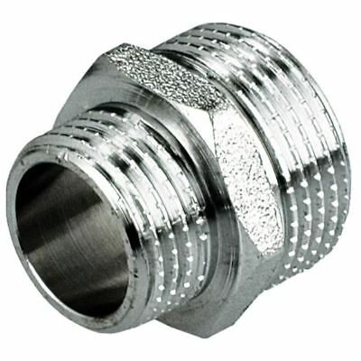"""3/4"""" 1/2"""" 3/8"""" MALE x MALE REDUCTION NIPPLE UNION FITTINGS CHROME PLATED BRASS"""