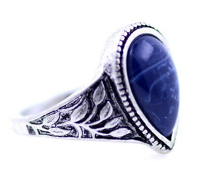 Vintage retro style antique silver and blue coloured ring with leaf pattern