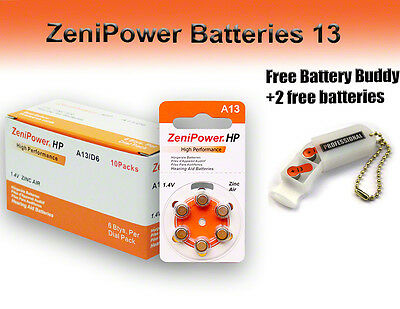 60 ZeniPower Hearing Aid Batteries Size 13 + Free Keychain/2 Extra Batteries