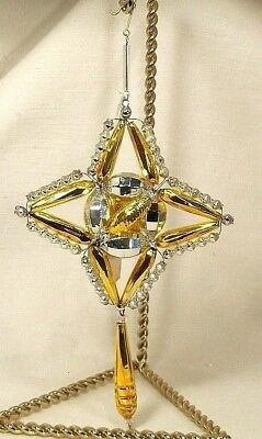 Garland Beads~NEW~Beaded Glass~Gold Fantasy Christmas Ornament~CZECH REPUBLIC