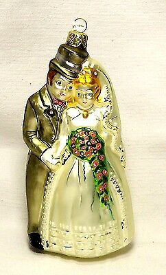 Bride/Groom Husband/Wife Blown Glass Ornament~Wedding/Bridal Shower~POLAND