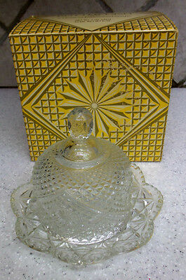 Clear Glass Butter Dish*Round*2 pieces*New in Box