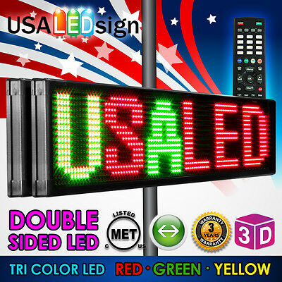 "LED SIGN 69""x19"" 26MM OUTDOOR PROGRAMMABLE  MESSAGE BOARD TRI COLOR-DOUBLE SIDE"