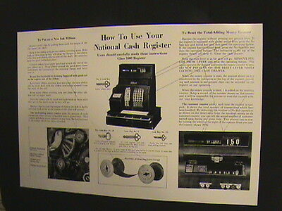 """Antique National Cash Register- """"how To Use"""" Guide 1000 Ncr!!!"""