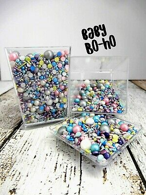 45g BABY BO-HO COLOURED CAKE EDIBLE BAUBLE SPRINKLES CUPCAKE DONUT UNISEX PARTY