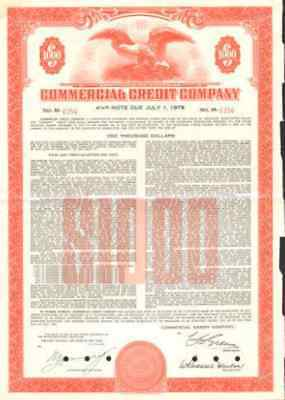 Commercial Credit Company   1960 $1,000 bond certificate stock share