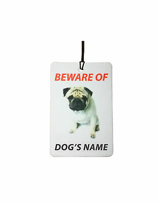 Personalised Pug Dog Name Car Air Freshener