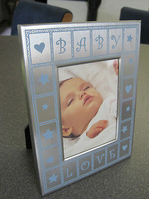 Baby boy picture frame silver metal and accented in blue  opening 4.5 X 3.5