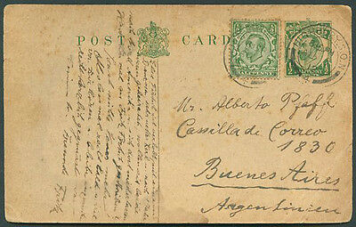 GREAT BRITAIN TO ARGENTINA Postal Stationery 1912 VF