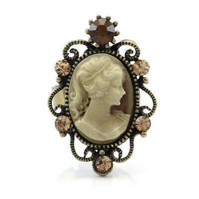 Retro Antique Gold Vintage Style Cameo Ring Oval Brown Crystal Rhinestones CR2