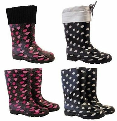 Kids Polka Dot Hearts Wellington Boots Wellies Pvc Shoes Childrens Snow Boots