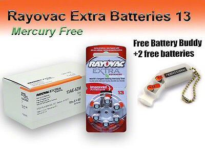 60 Rayovac Hearing Aid Batteries Size 13 Mercury Free + Holder/2 Extra Batteries