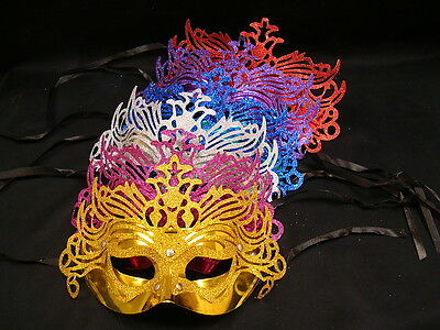 Venetian Party Masquerade Glitter Fancy Dress Mask - Many Colours Available