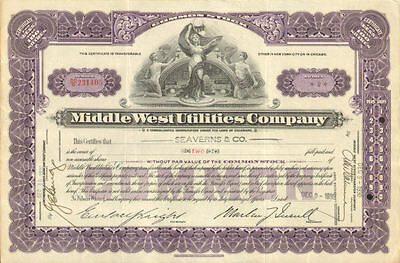 Middle West Utilities Company   1930s power stock certificate share