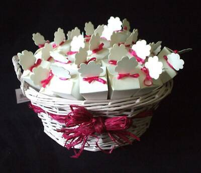 40 Filled rose petal confetti cones with basket pink wedding decoration