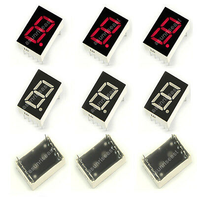 """10 × Red 7 Segment 1"""" Inch LED Single Digit Display Common Anode 1 Bit 10-Pins"""