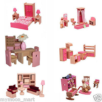 Brand New Pink Wooden Dolls House Doll House Furniture 50 Pcs Set + 4 Dolls