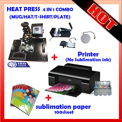 4 in 1 HEAT PRESS MACHINE + Printer (No Sublimation ink) + Sublimation paper