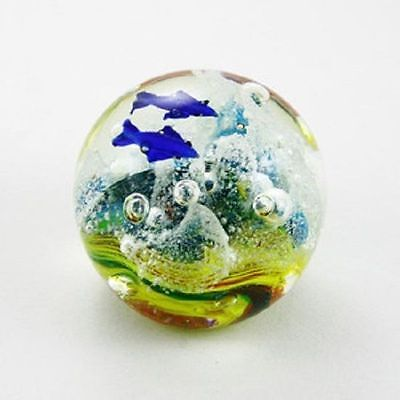 GLOW IN THE DARK Glass Ball Paperweight Multi - Colour Coral Dolphin Scene