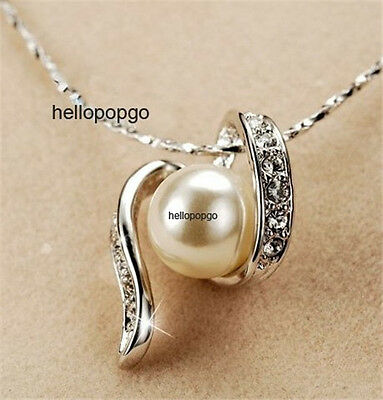 18K White Gold Gp Swarovski Crystal Plated Pearl Cute Unique Necklace