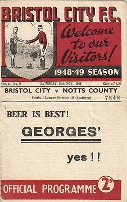 * 1948/49 - BRISTOL CITY v NOTTS COUNTY *