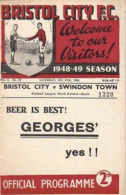* 1948/49 - BRISTOL CITY v SWINDON TOWN *