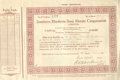 Southern Rhodesia Base Metals Corporation   1926 Africa mining stock certificate