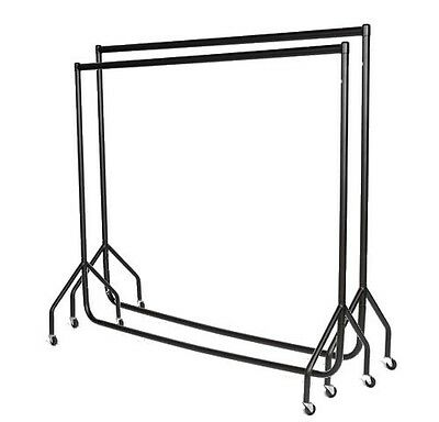 2 x 3ft|4ft|5ft|6ft HEAVY DUTY RAIL Clothes Garment Dress Display Rack Stand