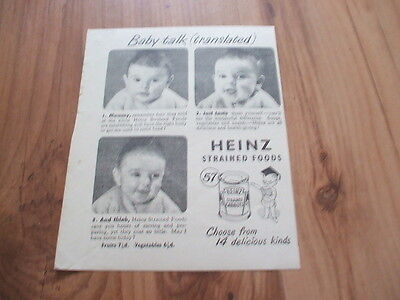 Heinz baby foods-1949 magazine advert